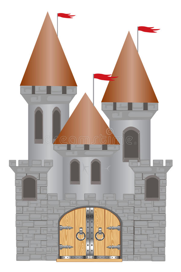 Old-time fortress. Medieval fortress on white background is insulated vector illustration