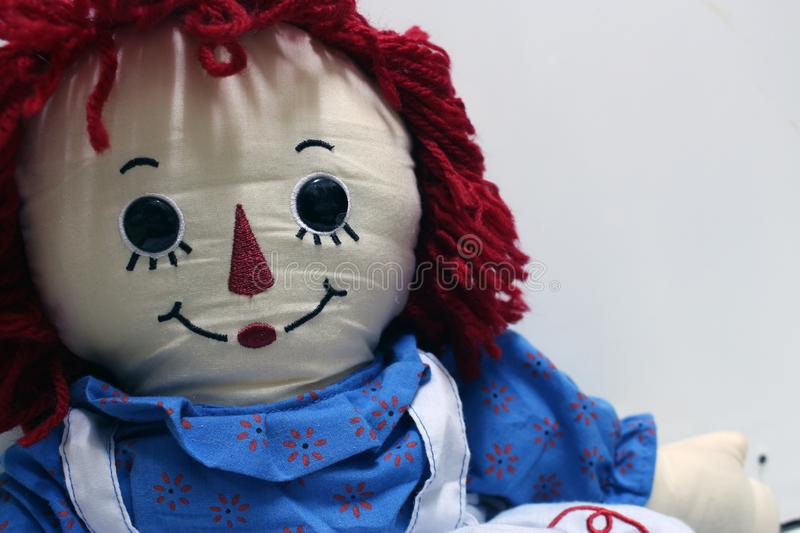 Old Time Rag Doll on white background, Ghost mystic doll. Scary horror. Old Time Rag Doll on white background, Ghost mystic doll. Scary horror royalty free stock images