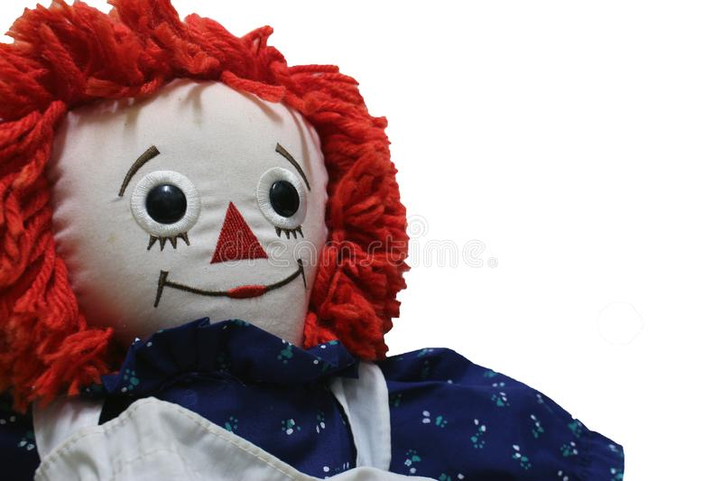 Old Time Rag Doll on white background, Ghost mystic doll. Scary horror. Old Time Rag Doll on white background, Ghost mystic doll. Scary horror royalty free stock photo