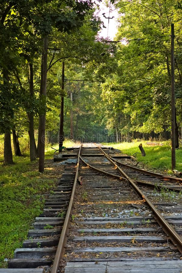 Old Time Street Trolley Tracks royalty free stock photography