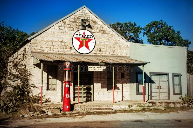 Old Time Vintage Texaco Gas Station in Driftwood Texas stock images