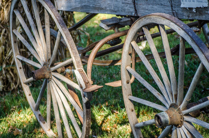 Old time wagon wheels royalty free stock photography