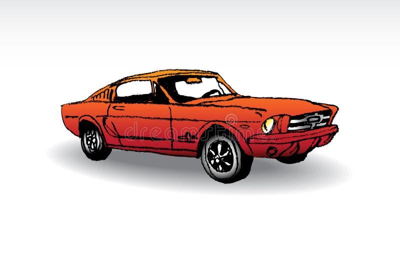 Old-timer. Oldtimer - red ford mustang 1965 - illustration stock illustration