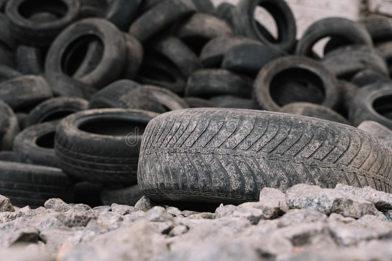 Old tire on the background of others stock photography