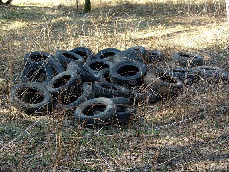Old tire covers. stock image