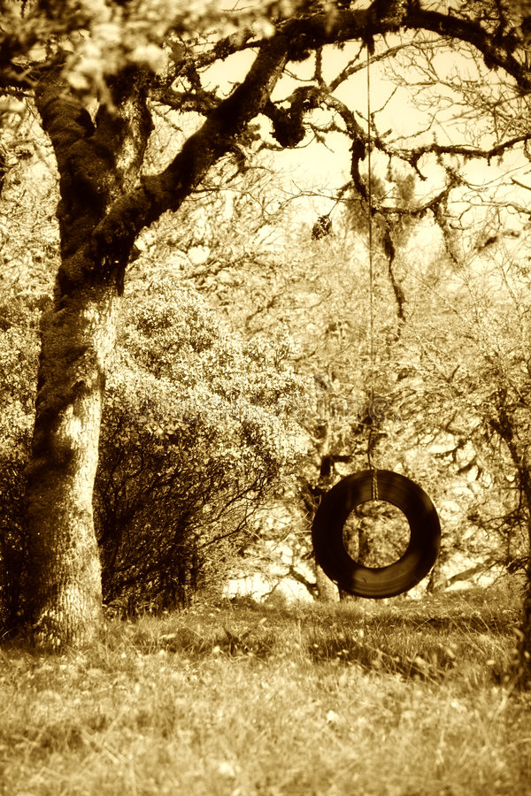 Free Old Tire Swing Sepia Royalty Free Stock Photo - 2223225
