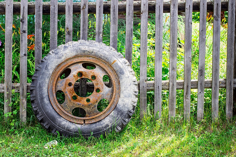 Old Tire. In a wooden fence royalty free stock images