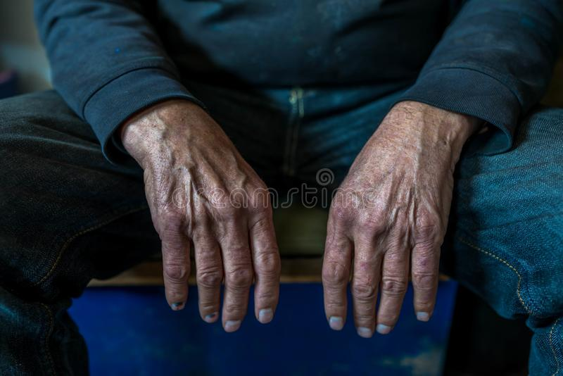 Old, tired , resting caucasian man hands close up shot royalty free stock images