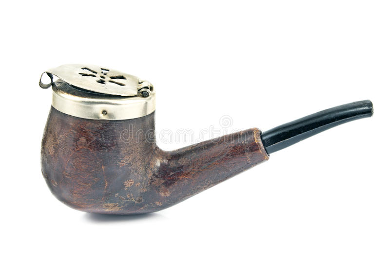 Old tobacco pipe with metal lid stock images
