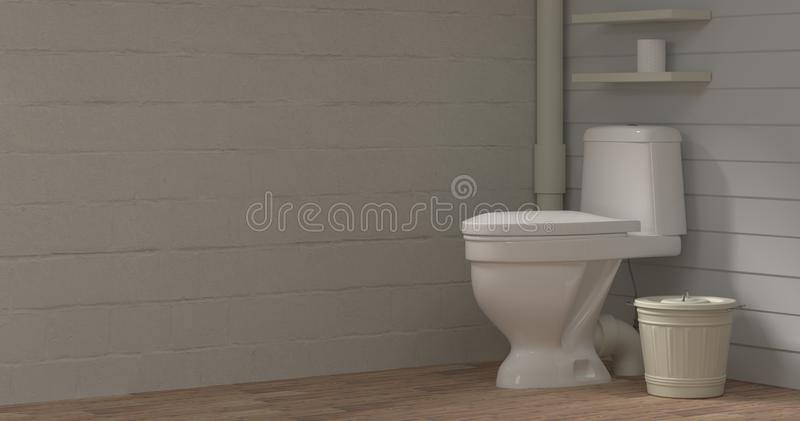 Old toilet room basin dirty after cleaning 3d illustration empty room interior empty wall objects home decoration background vector illustration