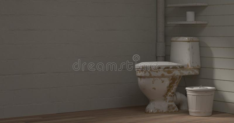 Old toilet room basin dirty before cleaning 3d illustration empty room interior empty wall objects home decoration background royalty free illustration