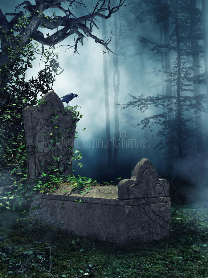 Old tomb with green vines. Dark forest with an old tomb, green vines, and a raven stock illustration