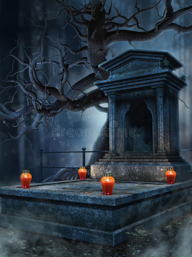 Old tomb with lanterns. Old tomb with red lanterns by a spooky tree royalty free illustration