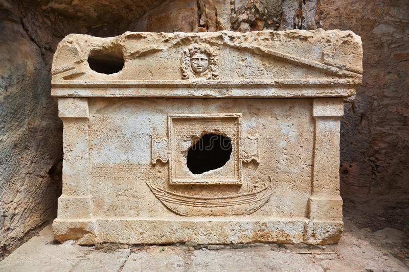 Old tomb at Olympos in Turkey royalty free stock photos