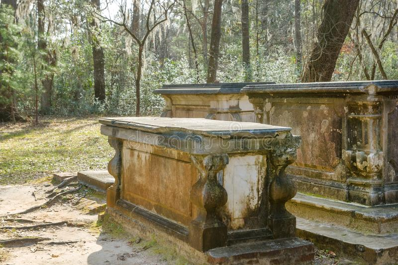 Old tombstones on South Carolina plantation stock photo