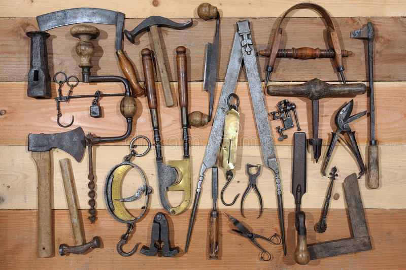 Old tools. Many tools of the past stock photography