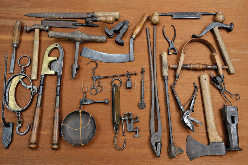 Old tools four. A group of old tools used stock image