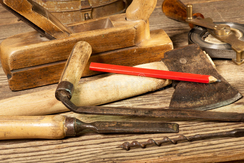 Old Tools. Still life with old tools in the workroom stock photography
