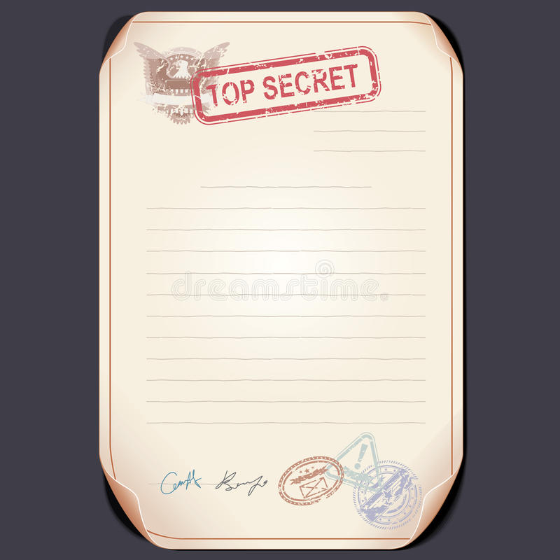 old top secret document on table vector template stock