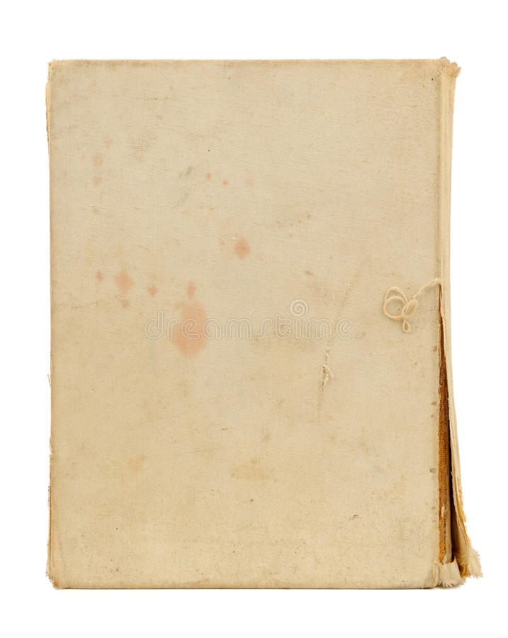 Old Torn Book Cover Isolated on White Background. Old blank torn book cover with stains isolated on a white background stock photography