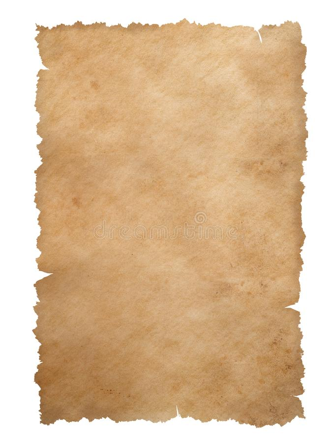 Old torn edges paper sheet isolated on white royalty free stock image