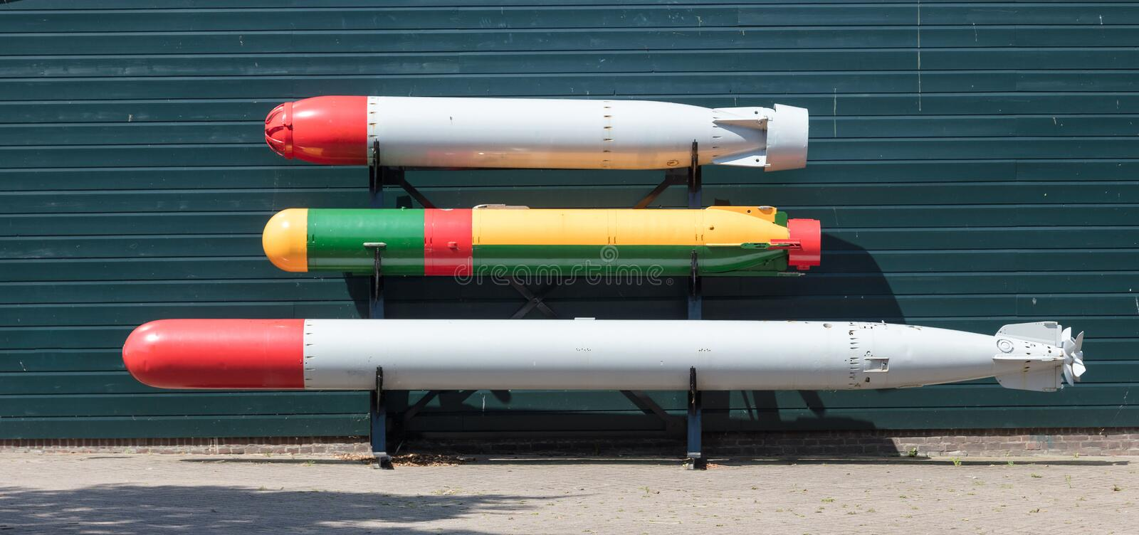 Old torpedoes. Torpedo of a Dutch submarine at open air museum in Den Helder, the Netherlands royalty free stock images