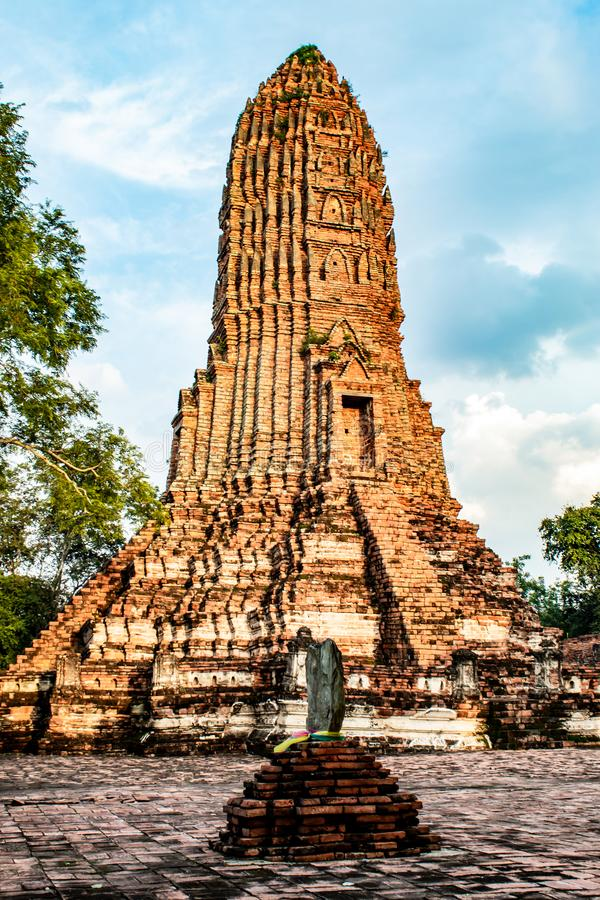 The old tower built of bricks is damaged at Worachet temple. royalty free stock images