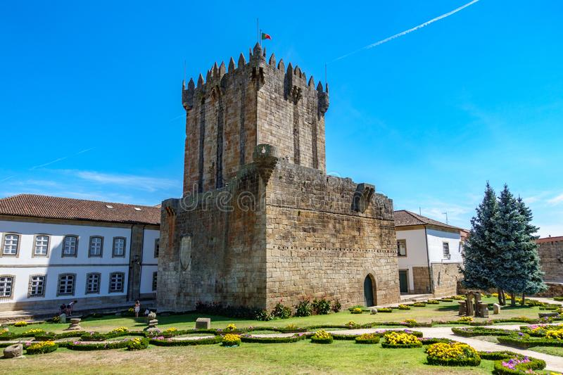 Old tower, castle and garden in Chaves, Portugal. Bottom wide angle view of old tower, castle and garden in Chaves, Portugal stock photos