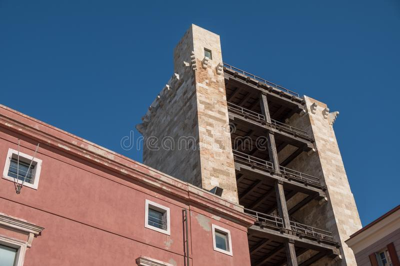 Old tower of elephant Torre di san pancrazio - traditional facade in the old neighborhood of Cagliari Castello - Sardinia royalty free stock photography