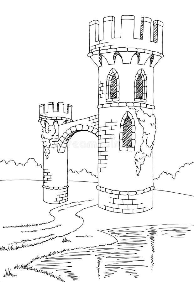 Free Old Tower Graphic Black White Lake Landscape Sketch Illustration Stock Photos - 83381023