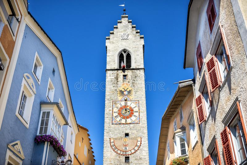 Old tower and houses in medieval town Sterzing Vipiteno, Sudtirol, Italy. Vipiteno is an Italian municipality in the Autonomous Province of Bolzano in Trentino royalty free stock image