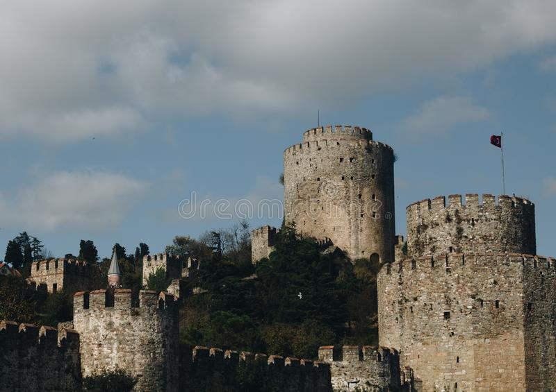 Old tower of the medieval fortification in istanbul. turkey royalty free stock photos