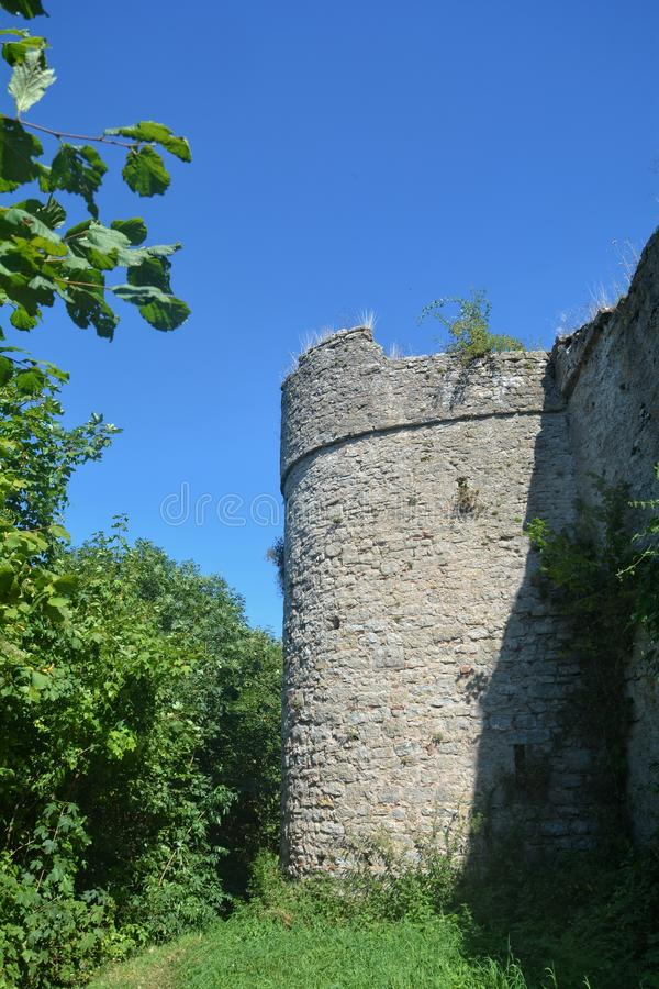 Old tower of a ruined castle stock image