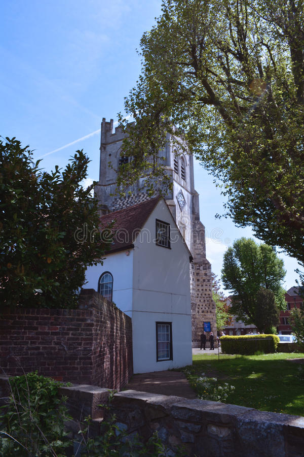Old Tower of Waltham Abbey church, England, UK. The Abbey Church of Waltham Holy Cross and St Lawrence is the parish church of the town of Waltham Abbey, Essex royalty free stock photo