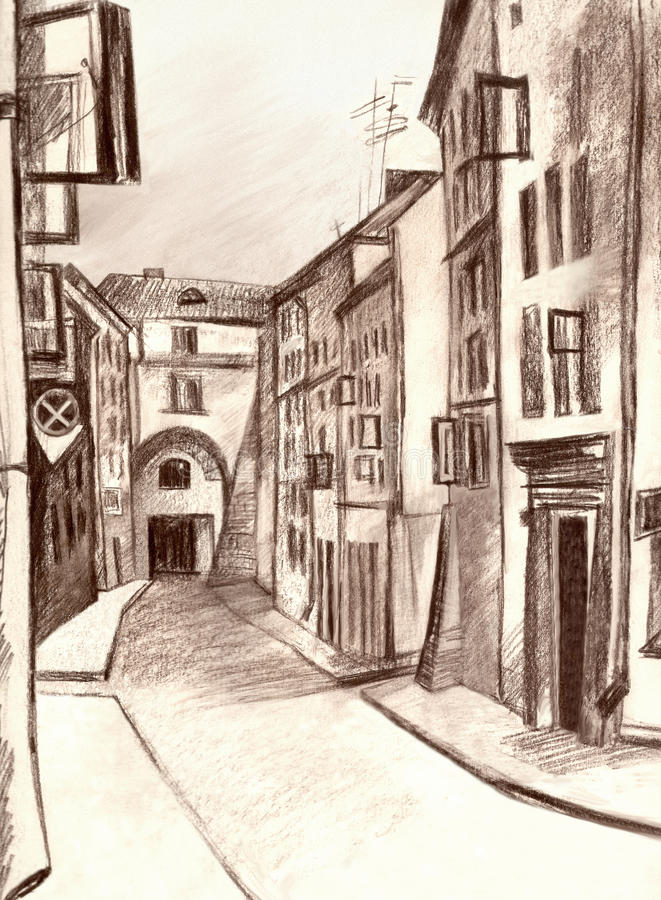 Old town. Summer, crooked street, sepia, sketch, drowing of a unit vector illustration