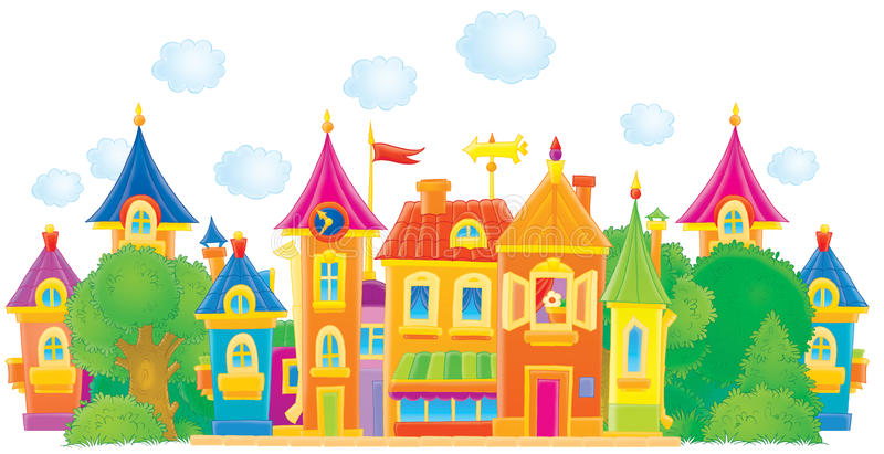 Old town. A colorful street of an old town royalty free illustration