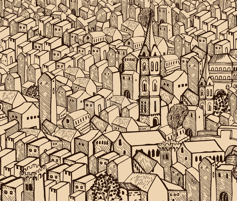 Old town. Old hand-drawn detail town- sepia royalty free illustration