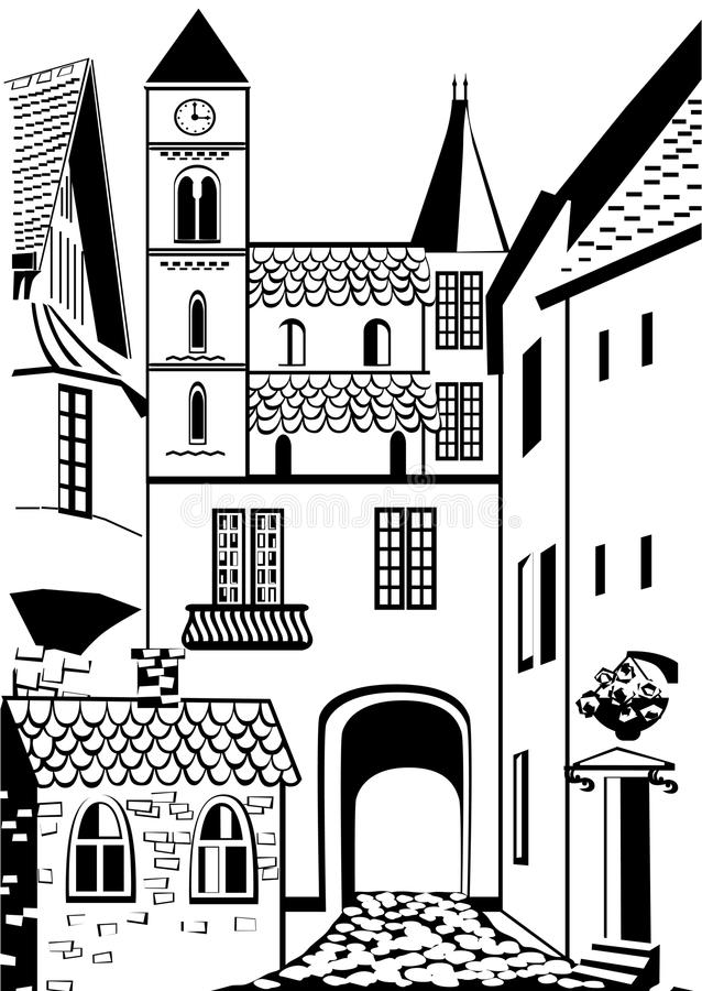 Old town. Black and white background with an old European town royalty free illustration