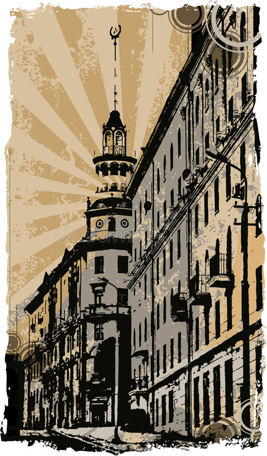 Old town. On a stained paper vector illustration
