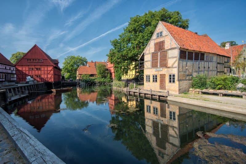 The Old Town in Aarhus, Denmark. Aarhus, Denmark – August 23, 2013: The Old Town in Aarhus is popular among tourists as it displays traditional Danish royalty free stock photography
