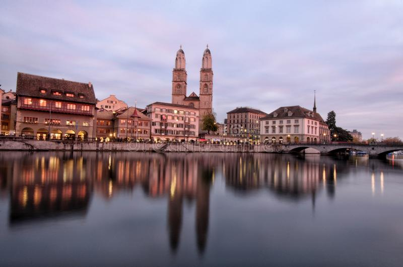 Zurich at Dusk stock photos
