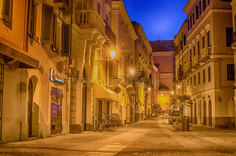 Old Town of Alghero, Sardinia, Italy in the sunset royalty free stock photo