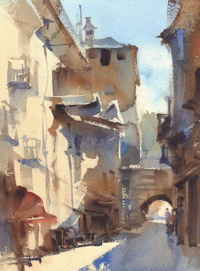 Old town alley watercolor landscape. A backstreet sketch stock illustration