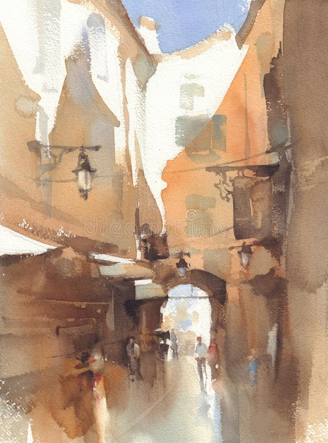 Old town alley watercolor landscape. A backstreet sketch vector illustration