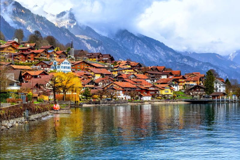 Old town and Alps mountains on Brienzer Lake, Switzerland royalty free stock photos