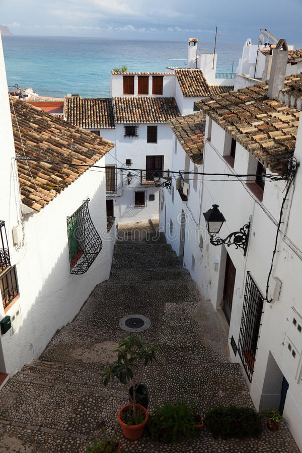 Old town of Altea, Spain stock images