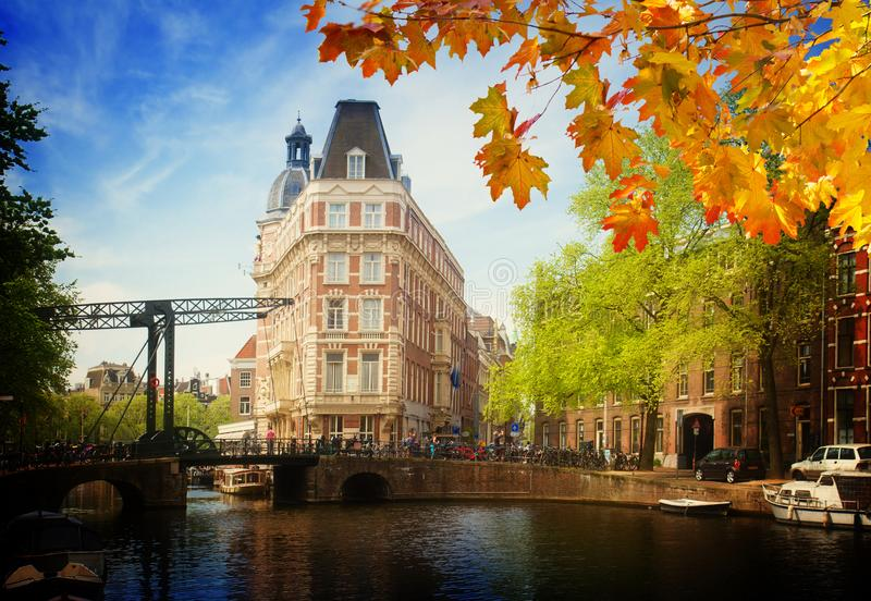 Old town of Amsterdam. Old town on canal ring, Amsterdam, Netherlands at autumn day stock image