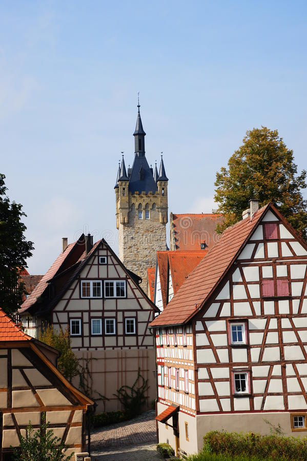 Free Old Town And Blue Tower In Bad Wimpfen Stock Image - 34084251