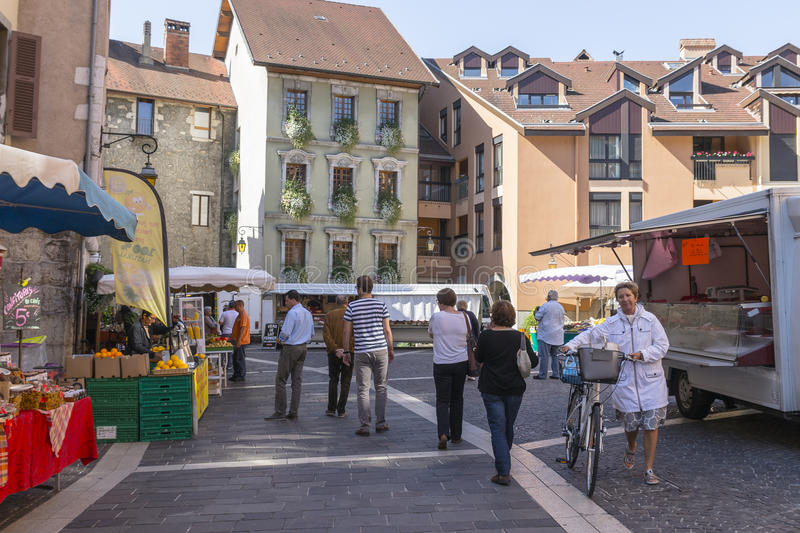 Old town Annecy stock photography