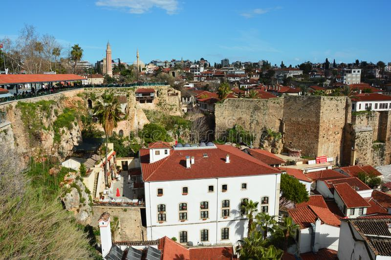 Old Town of Antalya surrounded by walls stock photography